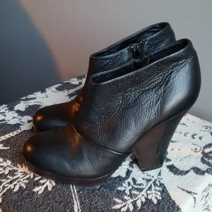 Matiko Black Pebbled Leather Ankle Booties